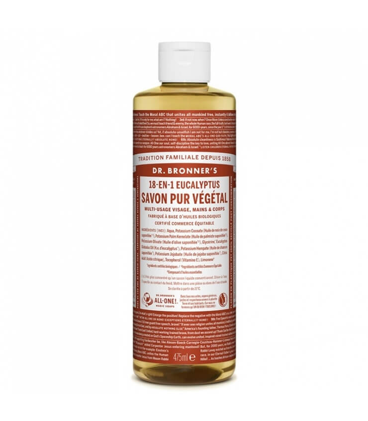 Savon liquide Eucalyptus 18-1 Dr Bronner's 60ml 475 ml