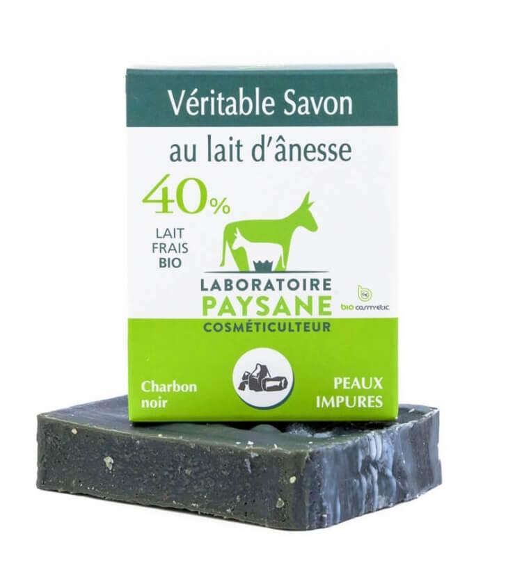 Savon Charbon 40% lait d'ânesse - Laboratoire Paysane