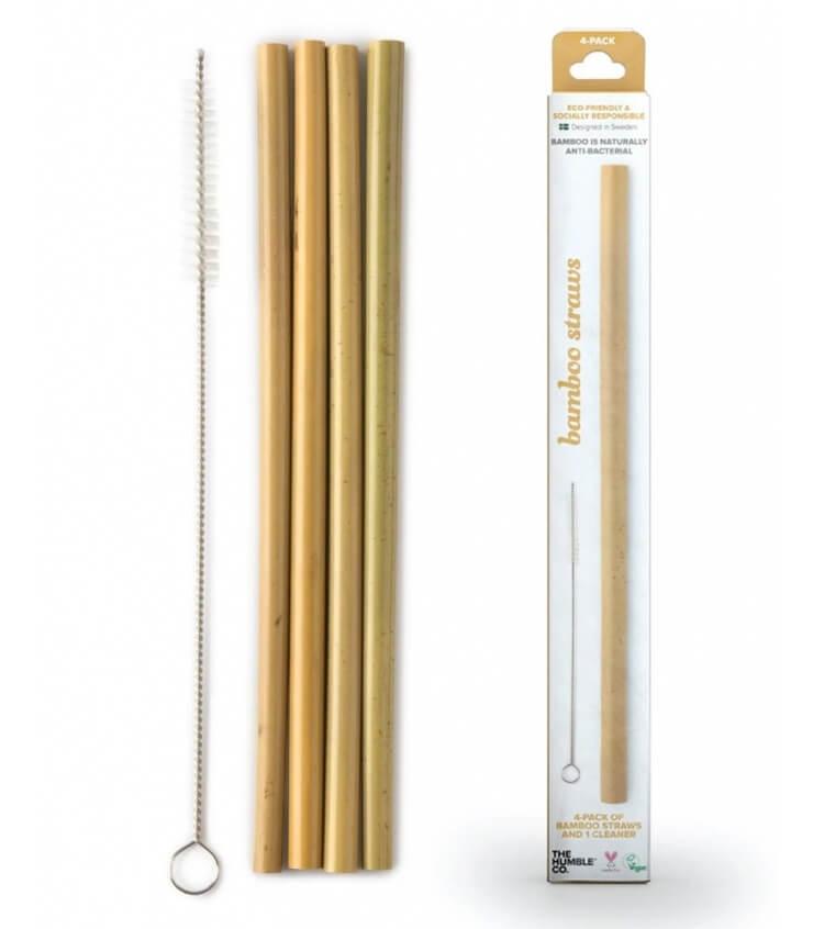 4 Pailles en Bambou et brosse de nettoyage