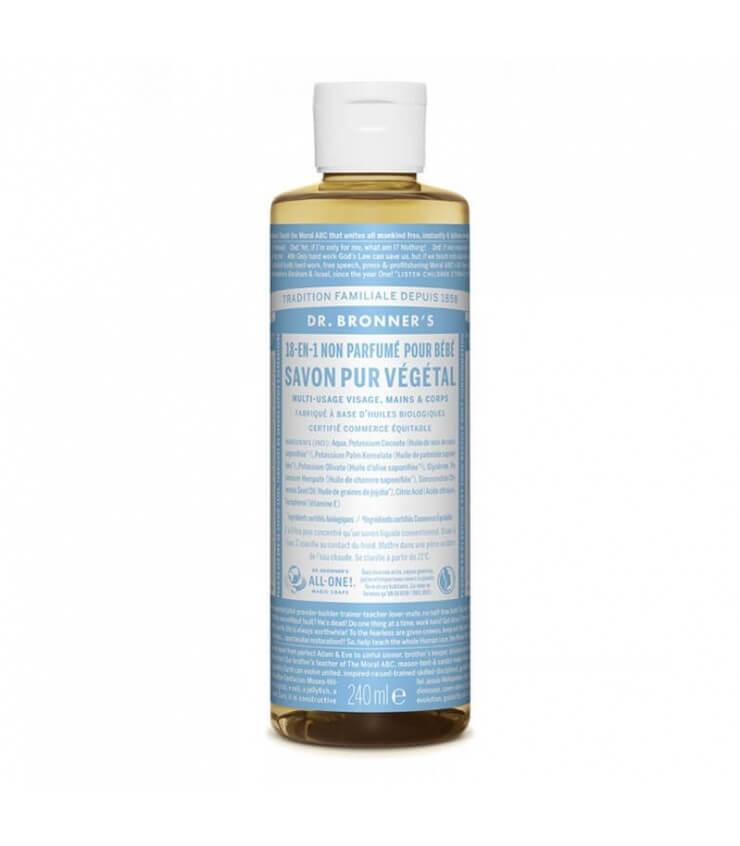 Savon liquide non parfumé 18-1 Dr Bronner's 240ml