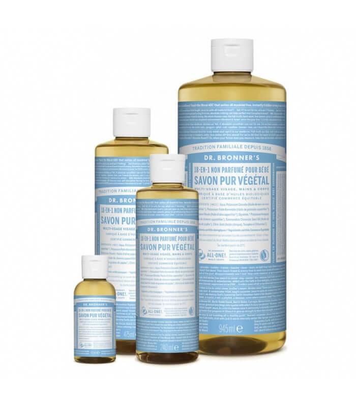 Savon liquide non parfumé 18-1 Dr Bronner's