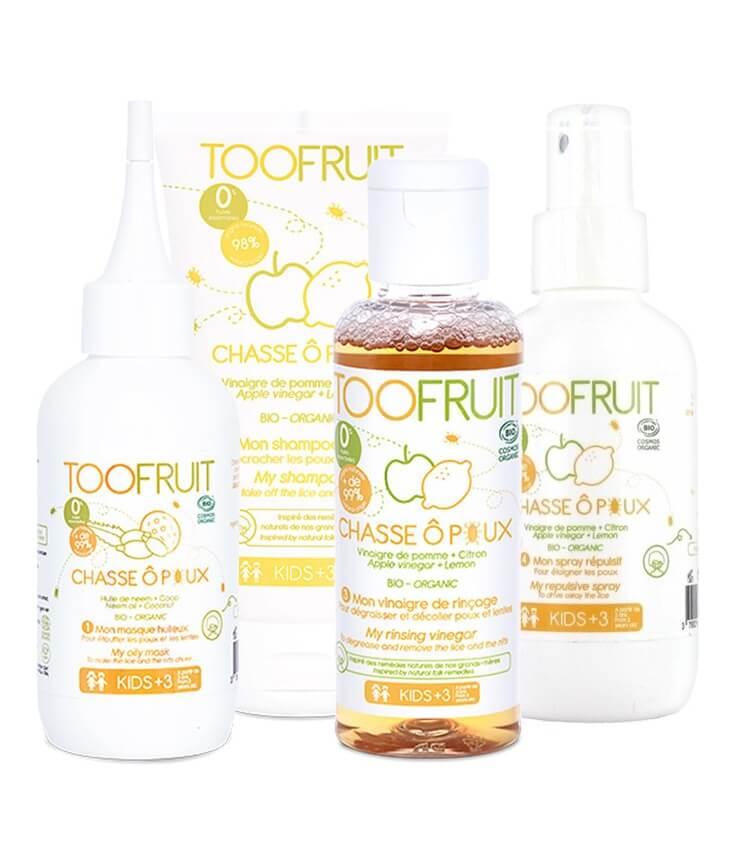 Pack 4 étapes Anti-poux Chasse Ô Poux Bio et naturel - Toofruit