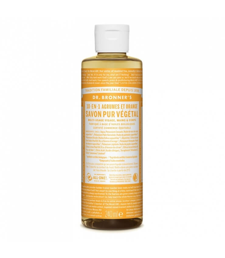Savon liquide Agrumes-Orange 18-1 Dr Bronner's 240ml