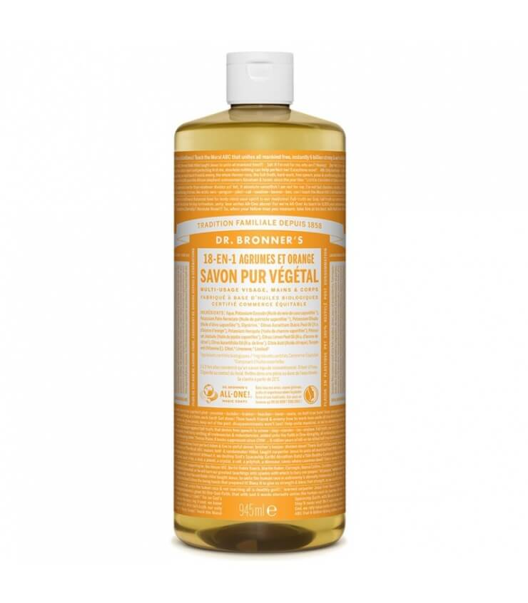 Savon liquide Agrumes-Orange 18-1 Dr Bronner's 945ml