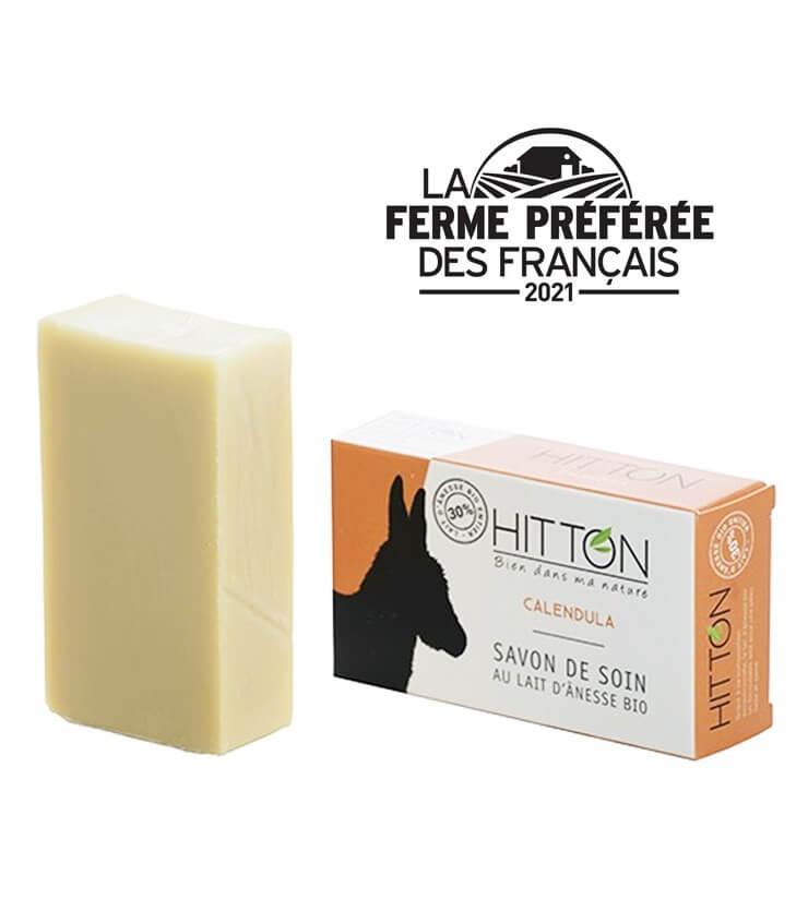 Savon à froid au lait d'anesse Bio Calendula - La Ferme Hitton (Gers)