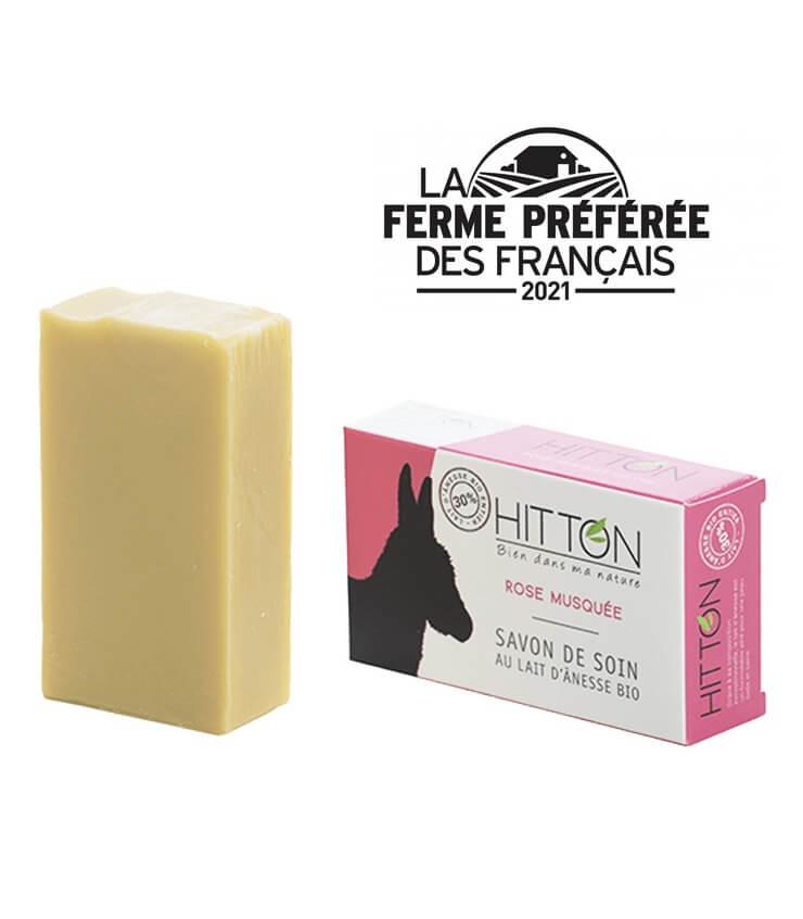 Savon à froid au lait d'anesse Bio Rose Musquée 100g - La Ferme Hitton (Gers)