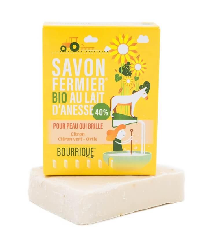 Savon 40% lait d'ânesse Citron Ortie - Laboratoire Paysane