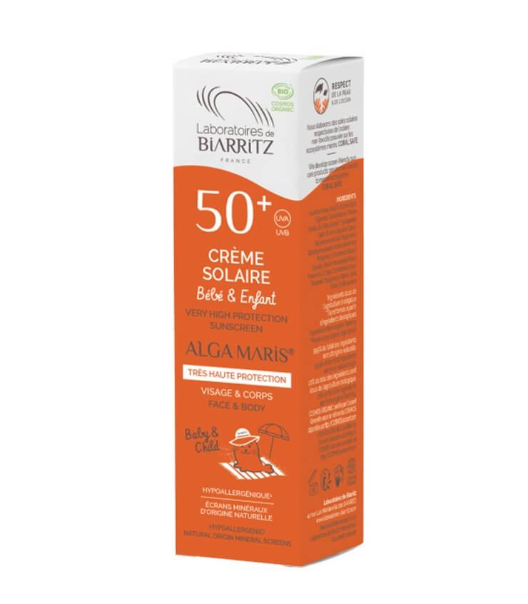 Crème solaire Enfant SPF50+ certifiée Bio naturel Alga Maris Laboratoire Biarritz
