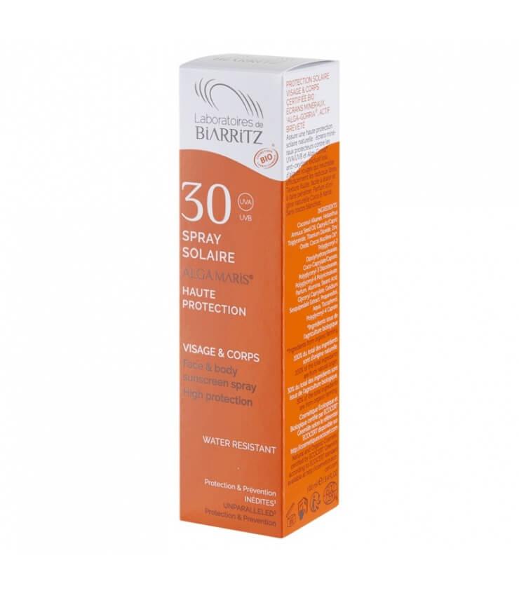 Spray solaire SPF30 certifié Bio Naturel Alga Maris Laboratoire Biarritz
